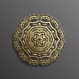 Islamisk guld 3d på design för textur för muslim för mörk bakgrund för mandalarundaprydnad arkitektonisk kan användas för Royaltyfri Foto