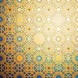 Islamisk guld- modell med överlappning av geometriska fyrkantiga former som bildar den abstrakta prydnaden Royaltyfri Foto