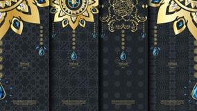 Islamisk mall för modellbeståndsdelbegrepp med smaragdtappning da Royaltyfri Foto