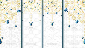 Islamisk mall för modellbeståndsdelbegrepp med smaragdtappninglodisar Arkivbild