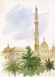 Islamisk moskémålning för vattenfärg royaltyfri illustrationer