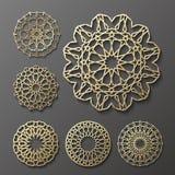 Islamisk prydnadvektor, persisk motiff för rundamodell för 3d ramadan beståndsdelar Geometrisk logomalluppsättning runt stock illustrationer