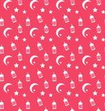 Islamisk sömlös modell med arabiska lampor, halvmånformig och stjärnor royaltyfri illustrationer