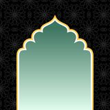 Islamisk svart bakgrund med den guld- bågen stock illustrationer