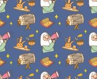 Islamisk tecknad filmklotterbakgrund för Eid alfitr eller ramadan beröm royaltyfri illustrationer