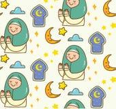 Islamisk tecknad filmklotterbakgrund för Eid alfitr eller ramadan beröm stock illustrationer