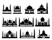 Islamiska byggnadskonturer Moskéer och minaret med halvmånformig vektor illustrationer