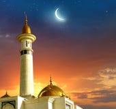 Islamiska hälsa Eid Mubarak kort för muslimska ferier Eid-Ul-En Arkivbild