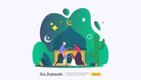 islamiskt designillustrationbegrepp f?r lycklig eid mubarak eller ramadan h?lsning med folkteckenet mall f?r reng?ringsduklandnin stock illustrationer