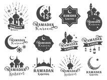 Islamiskt klistermärkeemblem Inklusive firar emblemen som Ramadankareemsamlingen, moskésymbolen, månen, stjärnan, muselman, relig royaltyfri illustrationer