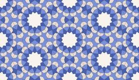 Islamitisch geometrisch naadloos patroon, achtergrond in schaduwen van blauw, indigo royalty-vrije illustratie