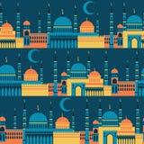 Islamitisch naadloos patroon met moskees in vlakte Stock Afbeeldingen