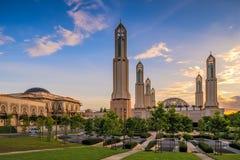 Islamitische Architectuurmoskee bij Zonsondergang Stock Afbeelding