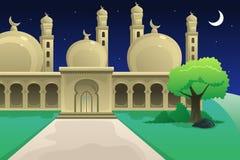 Islamitische Moskee bij Nacht vector illustratie