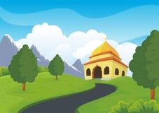 Islamitische moskee en mooi aardlandschap royalty-vrije illustratie