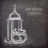 Islamitische Moskee met data voor Ramadan Kareem-viering stock illustratie