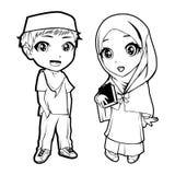 Islamman och kvinnligt tecken royaltyfri bild