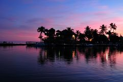Islamorada Florida. Florida Keys Sunset with Ocean Front and Palm Trees. Islamorada USA Stock Image