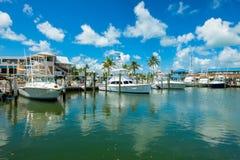Florida Keys Marina. Islamorada, Florida USA - September 18, 2018: The Whale Harbor Marina is a popular tourist destination for the rental of yachts for fishing royalty free stock photos
