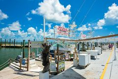 Florida Keys Marina. Islamorada, Florida USA - September 18, 2018: The Whale Harbor Marina is a popular tourist destination for the rental of yachts for fishing stock photos