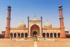 Islamski Jama Masjid meczet, Masjid ja Jahan Numa z kopułami i minaretami, wielki meczet w India, New Delhi, India obrazy stock