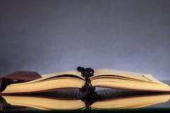 Islamski Książkowy Koran z różanem na popielatym tle Zdjęcia Stock
