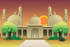 Islamski meczet przy półmrok ilustracją ilustracja wektor
