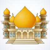 Islamski meczetowy budynek z żółtą kopułą i cztery wierza odizolowywającymi na białym tle ilustracja wektor