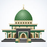 Islamski meczetowy budynek z zieloną kopułą odizolowywającą na białym tle