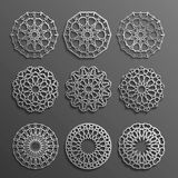 Islamski ornamentu wektor, perski motiff 3d Ramadan round deseniowi elementy Geometryczny loga szablonu set kurenda Obraz Stock