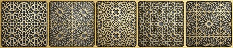 Islamski ornamentu wektor, perski motiff 3d Ramadan round wzoru islamscy elementy Geometryczny kółkowy ornamentacyjny ilustracja wektor