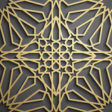 Islamski ornamentu wektor, perski motiff 3d Ramadan round wzoru islamscy elementy Geometryczny kółkowy ornamentacyjny Zdjęcie Stock