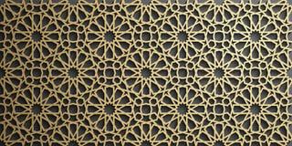 Islamski ornamentu wektor, perski motiff 3d Ramadan round wzoru islamscy elementy Geometryczny kółkowy ornamentacyjny Fotografia Royalty Free