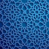 Islamski ornamentu wektor, perski motiff 3d Ramadan round wzoru islamscy elementy Geometryczny kółkowy ornamentacyjny Obrazy Stock