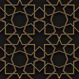 Islamski wzór   Czerń i złoto   Bezszwowy Obraz Royalty Free