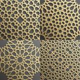 Islamski wzoru set 4 ornamentu Bezszwowy arabski geometryczny, wschodni ornament, hindus, perski motyw, 3D endless royalty ilustracja