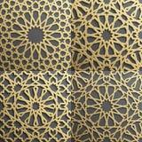 Islamski wzoru set 4 ornamentu Bezszwowy arabski geometryczny, wschodni ornament, hindus, perski motyw, 3D endless ilustracji