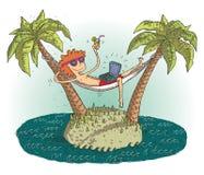 与满意的少年的世界村动画片离开的islan的 免版税库存图片