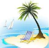 Island. Boat deckchair island lonely paradise Royalty Free Stock Image
