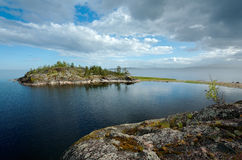 Island. Small stony islet in Ladoga lake Royalty Free Stock Images