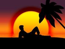 Island. Vectored resting man royalty free illustration