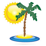Island. Palm tree and sun .Illustrations Stock Photography