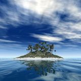 The island. 3d render of a tropical island in a sunny day Stock Image
