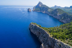 Island. Part of Mallorca called Formentor, showing mountains surrounded by sea Stock Image
