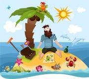 Island. Vector Illustration of a cute island Stock Photography