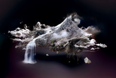 Island. Rocky island with waterfall flying over clouds in the night Royalty Free Stock Image