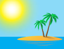 Island. Tropical island with palm trees at ocean Stock Image