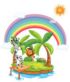 Island. Illustration of animals on an island Royalty Free Stock Image