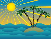 Island. The vector image of small island with three palm trees Stock Illustration