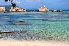 Island. Tropical Seychelles island on sunny day Stock Photos